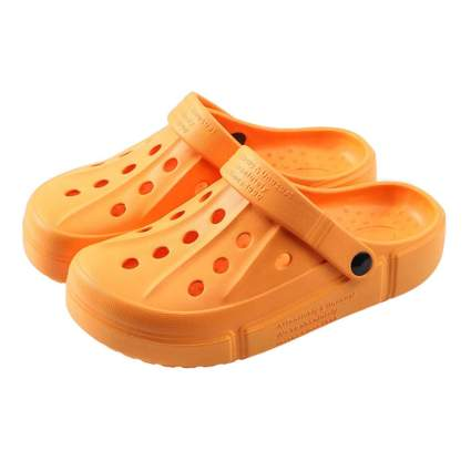 orange unisex garden clogs
