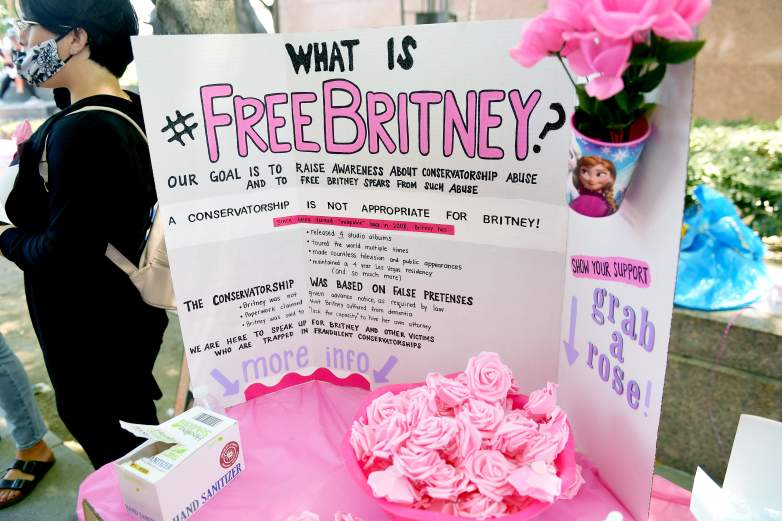 Supporters of Britney Spears gather outside a courthouse in downtown for a #FreeBritney protest as a hearing regarding Spears' conservatorship is in session
