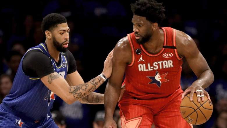 Anthony Davis of the Lakers, left, guards Joel Embiid during the 2020 NBA All-Star game