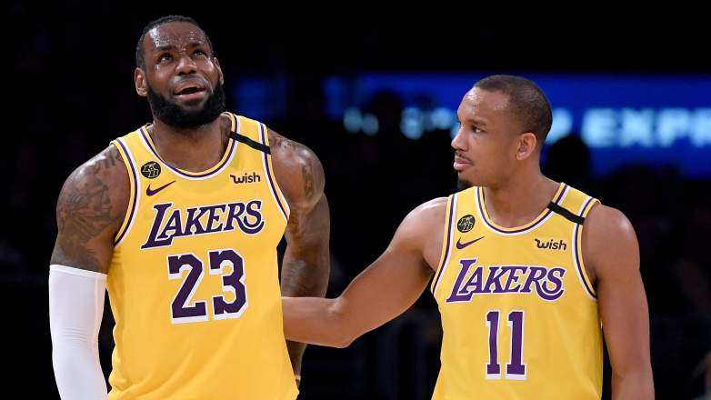 Former Laker Avery Bradley, right, and LeBron James