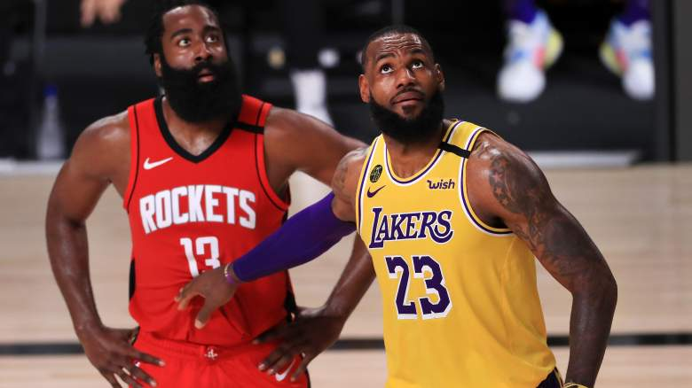 LeBron James, Lakers (right), and James Harden