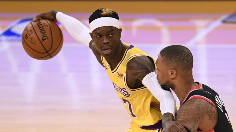Dennis Schroder, left, of the Lakers
