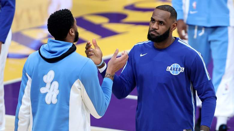 Anthony Davis, left, and LeBron James, Lakers