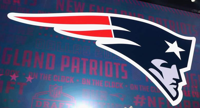 The New England Patriots logo is seen on a video board during the first round of the 2018 NFL Draft