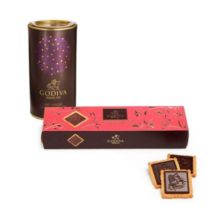Godiva hot chocolate mix and biscuit gift set