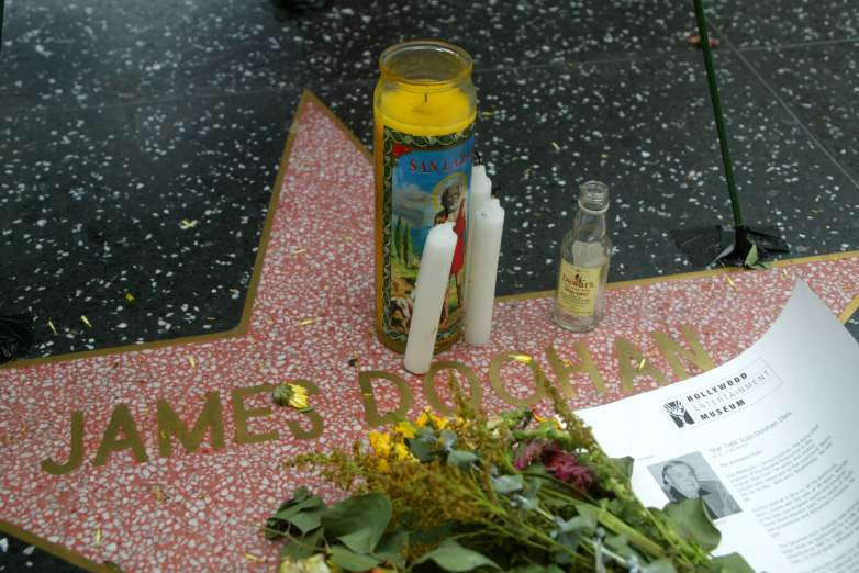 Flowers and candles adorn the star of actor James Doohan on the Walk of Fame in Hollywood, California on July 20, 2005. Doohan who is known for his role as Lt. Cmdr. Montgomery 'Scotty' Scott on the television series Star Trek(1966), died on July 20, 2005. He was 85.