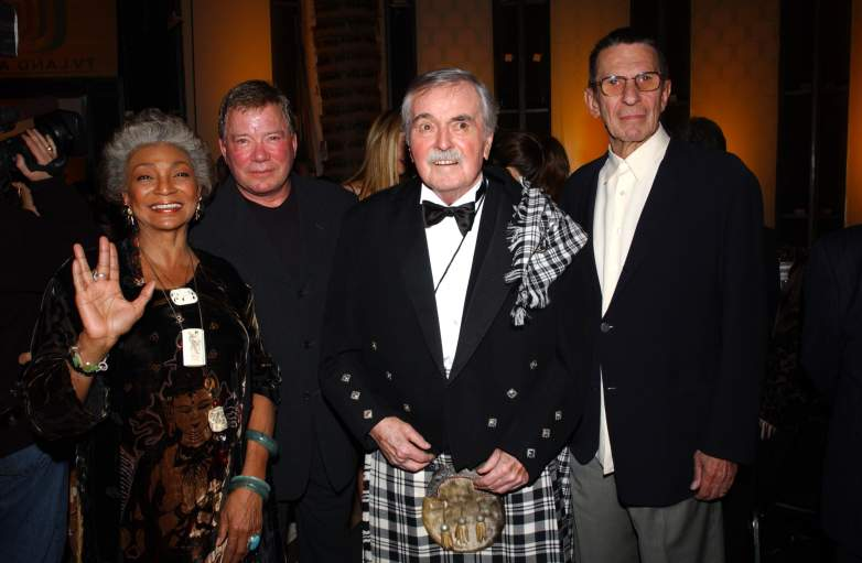 Actors Nichelle Nichols, William Shatner, James Doohan and Leonard Nimoy pose during the TV Land Awards 2003 at the Hollywood Palladium on March 2, 2003 in Hollywood, California.