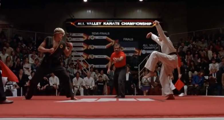 "Johnny and Daniel face off in the final scene of ""The Karate Kid."""