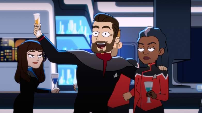 Riker, Troi, and Captain Freeman