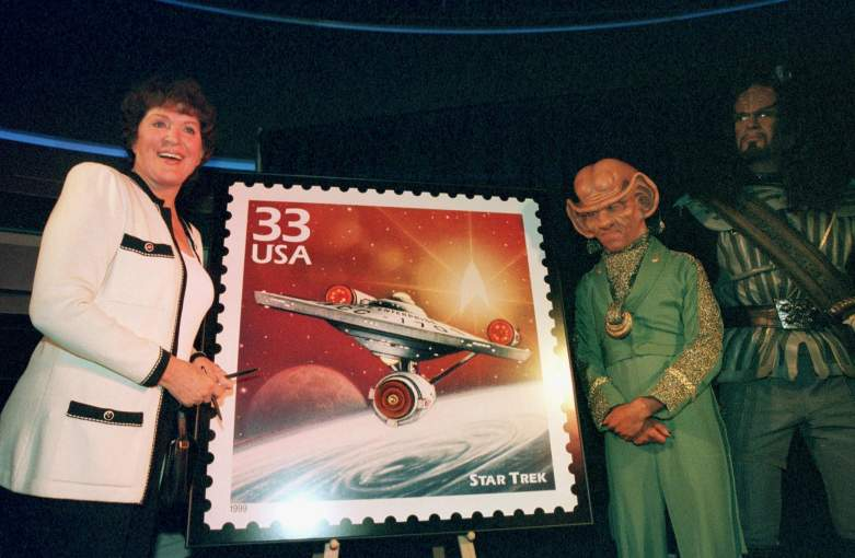 "Majel Barrett (L), wife of late ""Star Trek"" creator Gene Roddenberry, unveils the new ""STAR TREK"" postal stamp"