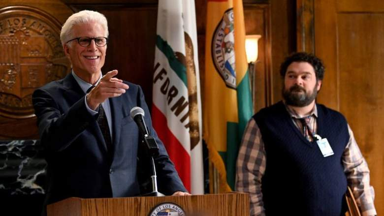 Pictured: (l-r) Ted Danson as Mayor Neil Bremer, Bobby Moynihan as Jayden Kwapis