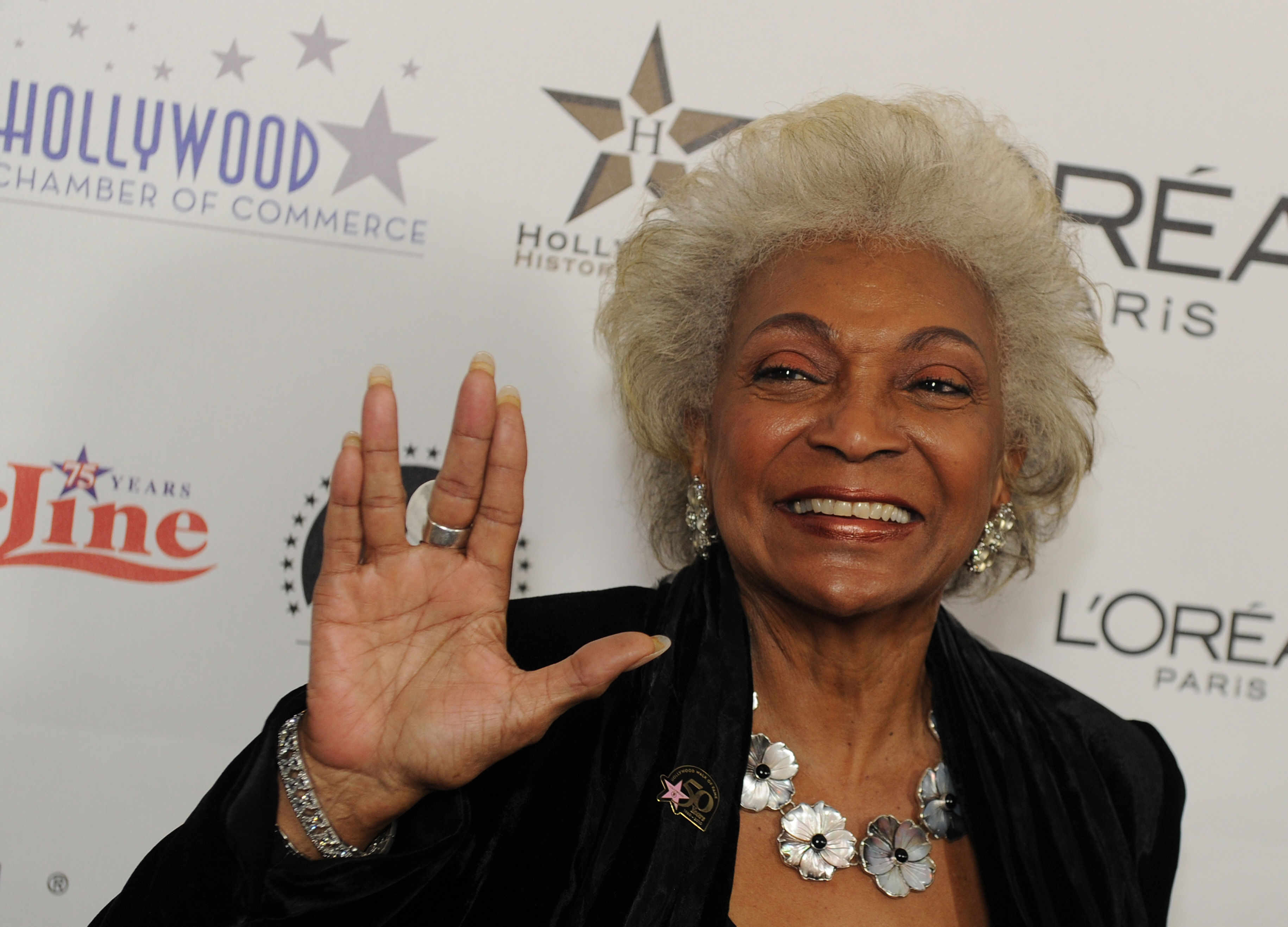 Actress Nichelle Nichols arrives on the red carpet for the 50th anniversary birthday bash of the Hollywood Walk of Fame at the Kodak Theater