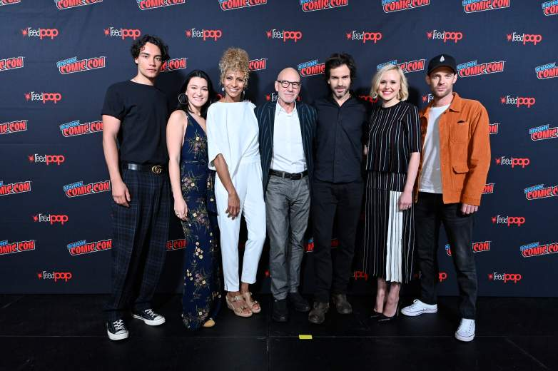 Evan Evagora, Isa Briones, Michelle Hurd, Patrick Stewart, Santiago Cabrera, Alison Pill, and Harry Treadaway of the CBS All Access series Star Trek: Picard during New York Comic-Con 2019