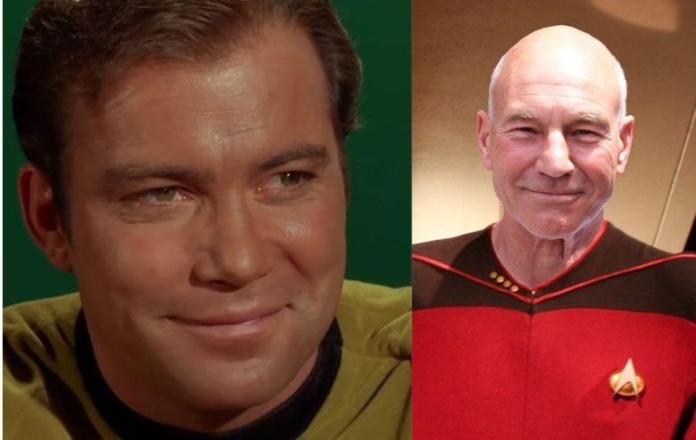 William Shatner as Captain James T Kirk and Patrick Stewart as Captain Jean-Luc Picard