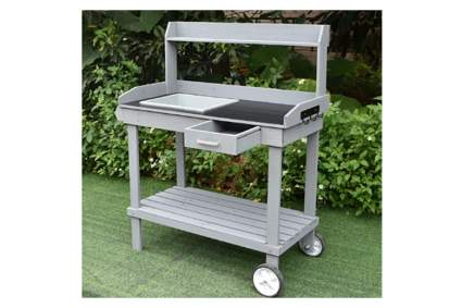 rolling wood potting bench