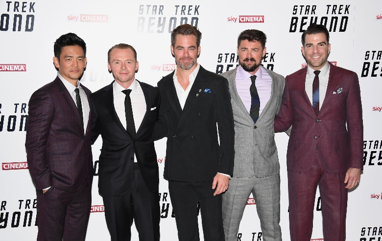 "ohn Cho, Simon Pegg, Chris Pine, Karl Urban and Zachary Quinto attend the UK Premiere of Paramount Pictures ""Star Trek Beyond"""