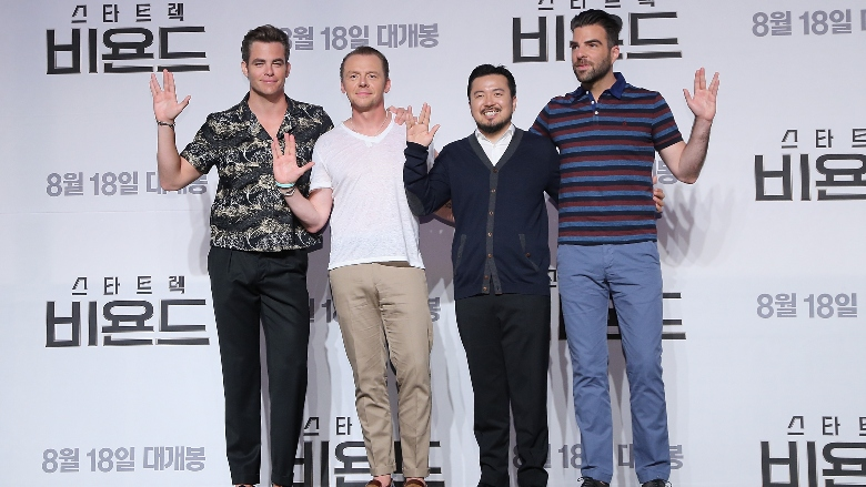 """Chris Pine, Simon Pegg, Zachary Quinto and director Justin Lin attend the Press Conference and Photocall in advance of the Fan Screening of the Paramount Pictures title """"Star Trek Beyond,"""" on August 16, 2016 at Grand Intercontinental Hotel in Seoul, South Korea."""