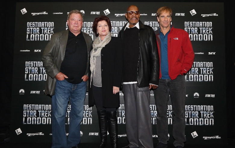 William Shatner, Kate Mulgrew, Avery Brooks, Scott Bakula, who played Captains in the Star Trek series pose for a photograph at the 'Destination Star Trek London' convention at the ExCeL centre on October 19, 2012