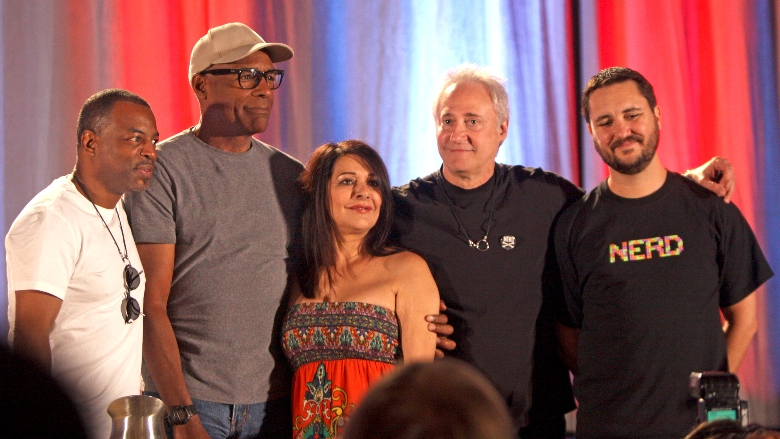 LeVar Burton, Michael Dorn, Marina Sirtis, Brent Spiner, and Wil Wheaton at an event