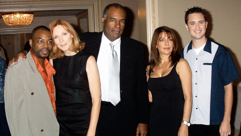 LeVar Burton, Gates McFadden, Michael Dorn, Marina Sirtis and Wil Wheaton attend the National Cable & Telecommunications Association press tour July 12, 2001