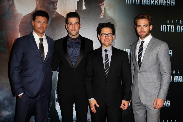 Karl Urban, Zachary Quinto, Director J.J. Abrams and Chris Pine arrive at the Australian premiere of 'Star Trek Intro Darkness' at Event Cinemas