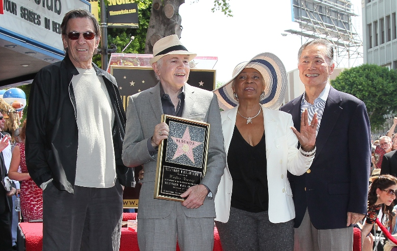 Leonard Nimoy, Walter Koenig, Nichelle Nichols and George Takei attend Koenig being honored with a star on the Hollywood Walk of Fame on September 10, 2012 in Hollywood, California