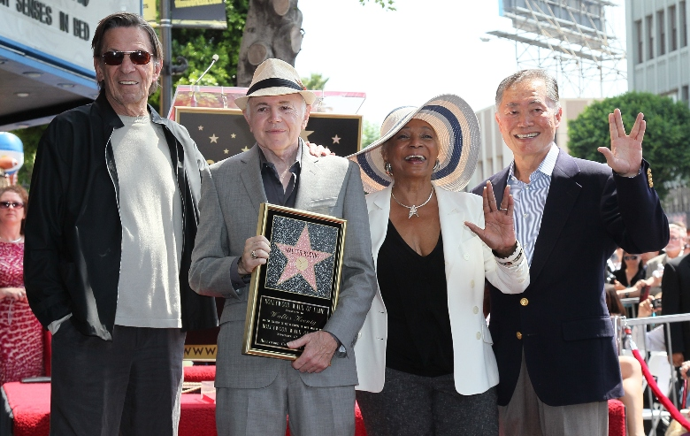 Actors Leonard Nimoy, Walter Koenig, Nichelle Nichols and George Takei attend Koenig being honored with a star on the Hollywood Walk of Fame