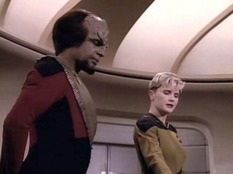 Tasha Yar and Worf on the bridge of The Enterprise