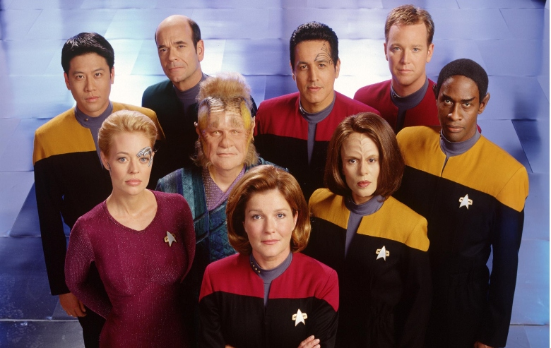 "The cast of the science fiction television series, ""Star Trek: Voyager."""
