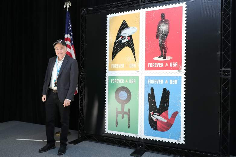 """Actor Walter Koenig who portrayed USS Enterprise Navigation Officer Pavel Checkov on the Iconic television show """"Star Trek"""" helps lauch the USPS """"Star Trek"""" Forever Stamps at The Jacob K. Javits Convention Center"""