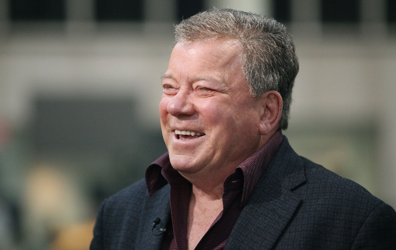 Head shot of William Shatner laughing