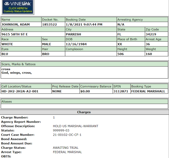adam johnson jail record