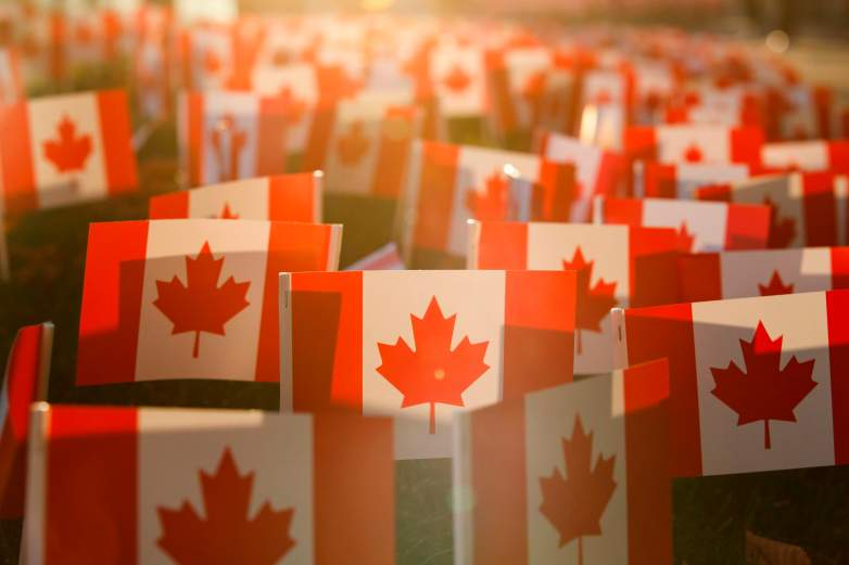Miniature Canadian Flags are seen outside the Sunnybrook Hospital on November 10, 2020 ahead of Remembrance Day in Toronto, Ontario, Canada