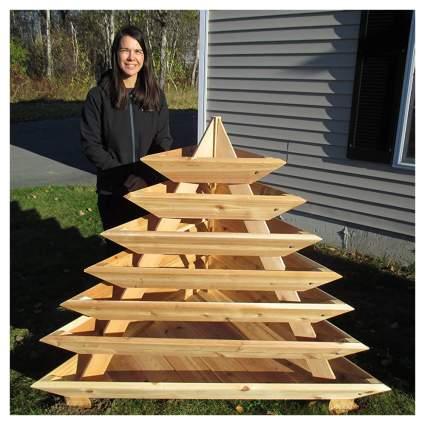 cedar pyramid raised planter box