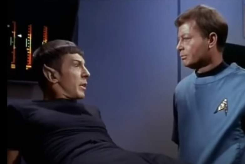"DeForest Kelley and Leonard Nimoy as Mr. Spock and Dr. Leonard ""Bones"" McCoy"