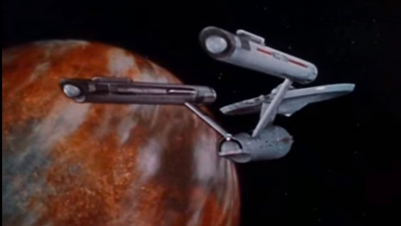 "The Enterprise flies past a planet in the opening of ""Star Trek: The Original Series"""
