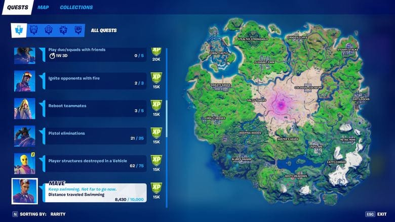fortnite mave swimming quest easy
