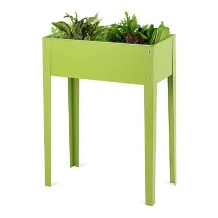 green metal raised planter box