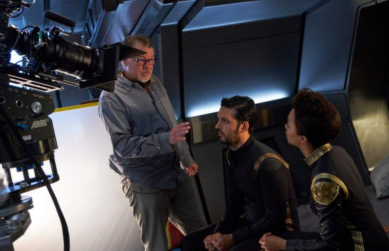 Director, Jonathan Frakes; Shazad Latif as Lieutenant Ash Tyler; Sonequa Martin-Green as First Officer Michael Burnham of the CBS All Access series STAR TREK: DISCOVERY