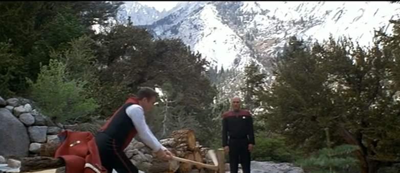 Kirk and Picard meet in Star Trek: Generations