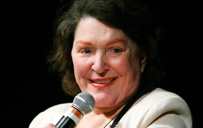Majel Barrett-Roddenberry, widow of Star Trek creator Gene Roddenberry, speaks at the fifth annual official Star Trek convention at the Las Vegas Hilton August 20, 2006