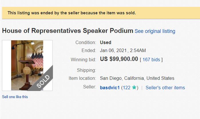 nancy pelosi podium sold