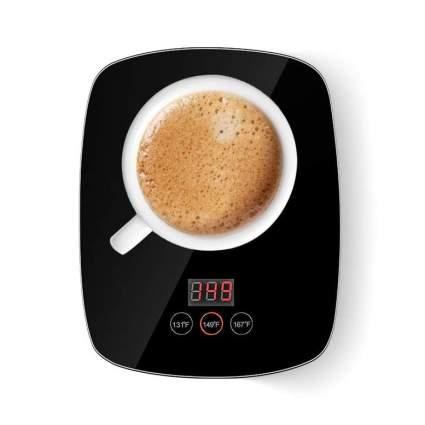 Black mug warmer with cup of coffee