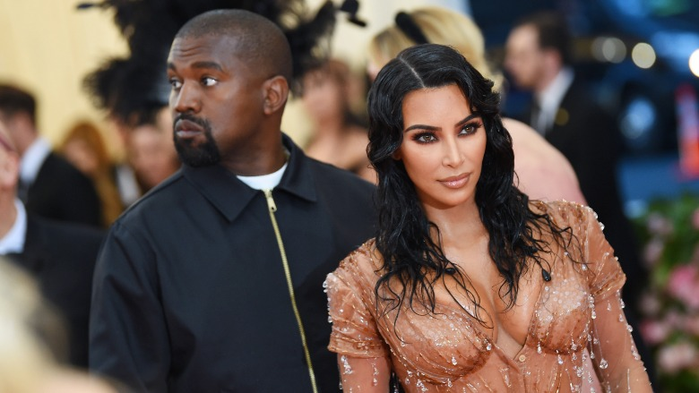 Kim Kardashian and Kanye West on the red carpet.