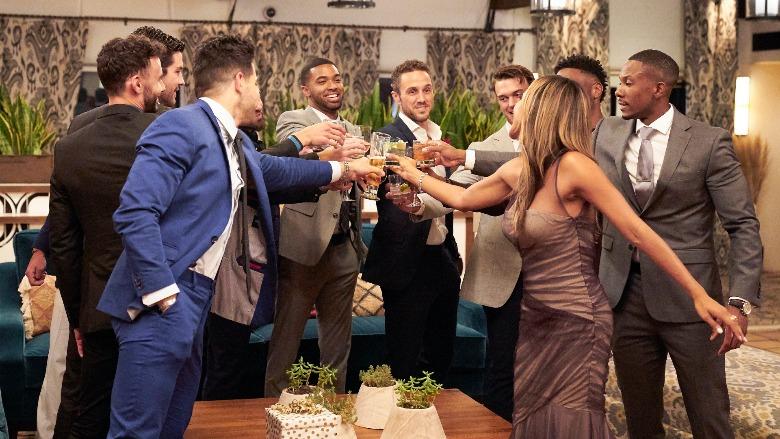 The cast of 'The Bachelorette' toast to Tayshia Adams.