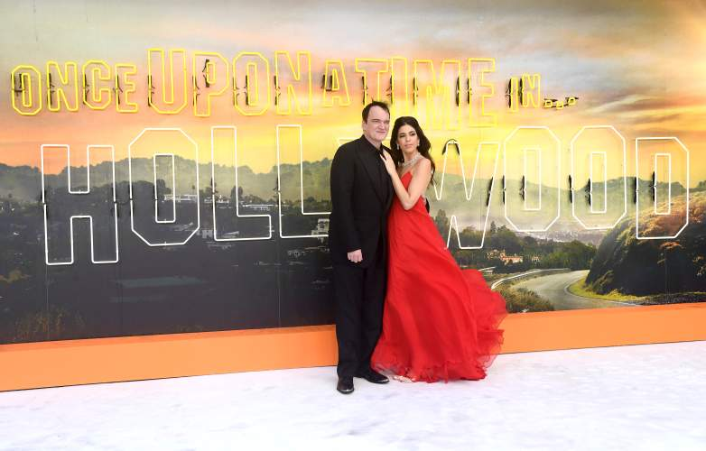 """Quentin Tarantino and Daniella Pick attend the """"Once Upon a Time... in Hollywood"""" UK Premiere at the Odeon Luxe Leicester Square on July 30, 2019 in London, England"""