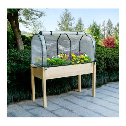 raised planter box with greenhouse cover