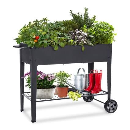 raised planter box with wheels