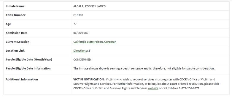 rodney alcala prison record