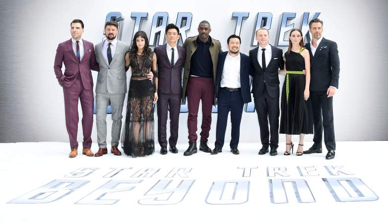 """Zachary Quinto, Karl Urban, Sofia Boutella, John Cho, Idris Elba, director Justin Lin, Simon Pegg, Lydia Wilson and Chris Pine attend the UK Premiere of Paramount Pictures """"Star Trek Beyond"""" at the Empire Leicester Square on July 12, 2016 in London,"""